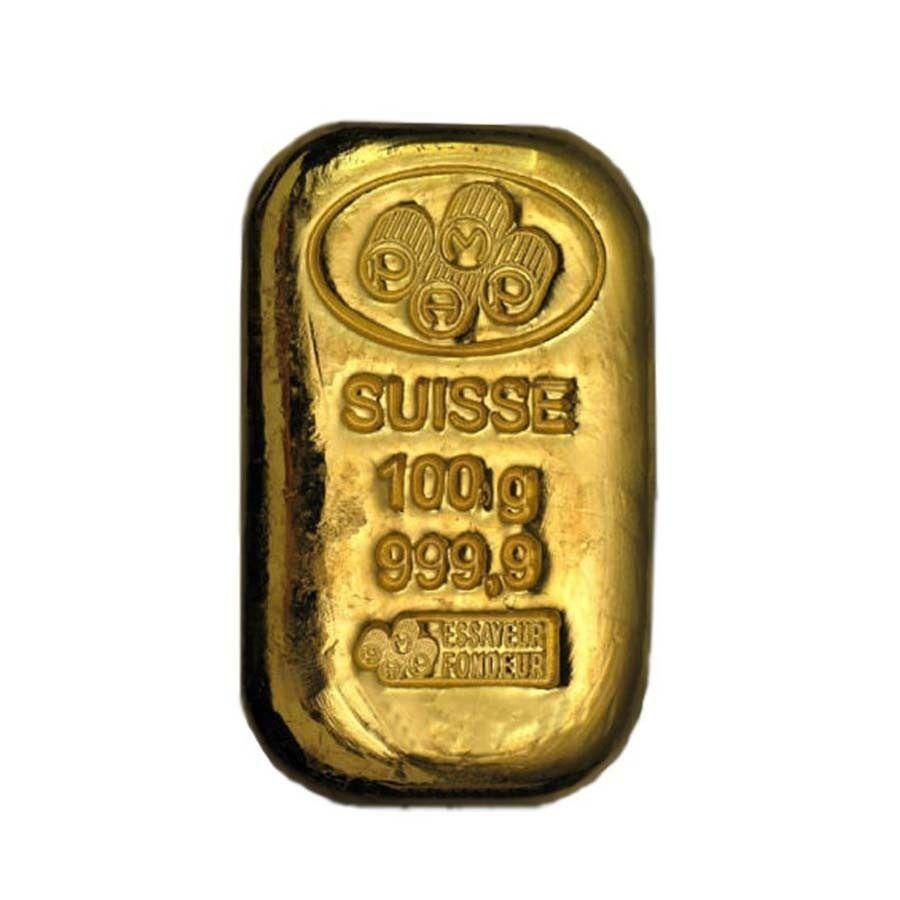 100 Gram Gold Bar Pamp Suisse Cast