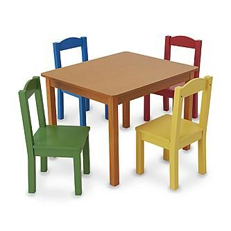 Kids Table Set 4 Chairs Play Date Room Family Dinner Tea Party Furniture  Wood