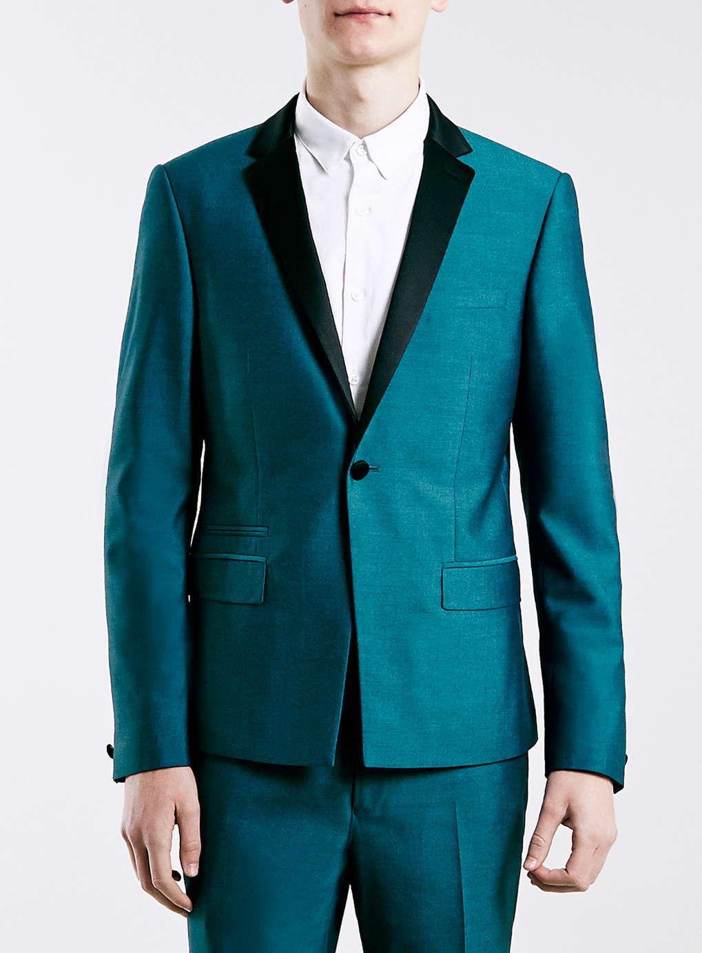 Enger Smoking, blaugrün - Eng geschnittene Anzüge - Anzüge - TOPMAN DEUTSCHLAND