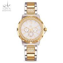 SK 2017 Luxury Gold Stainless Steel Women Watch Quartz Analog 3ATM Water-Resistant Business Watch Ladies Wristwatch