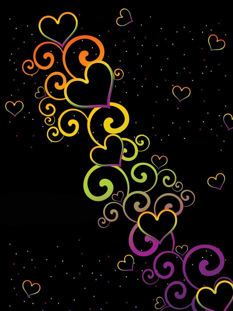Colorful Hearts On Black Backgrounds Heart Wallpaper Art Wallpaper Cellphone Wallpaper