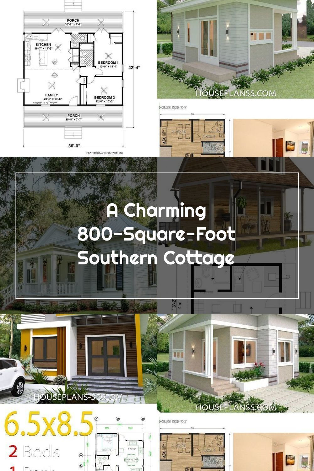 A Charming 800 Square Foot Southern Cottage Blue And White Home In 2020 Southern Cottage Small House Design White Houses