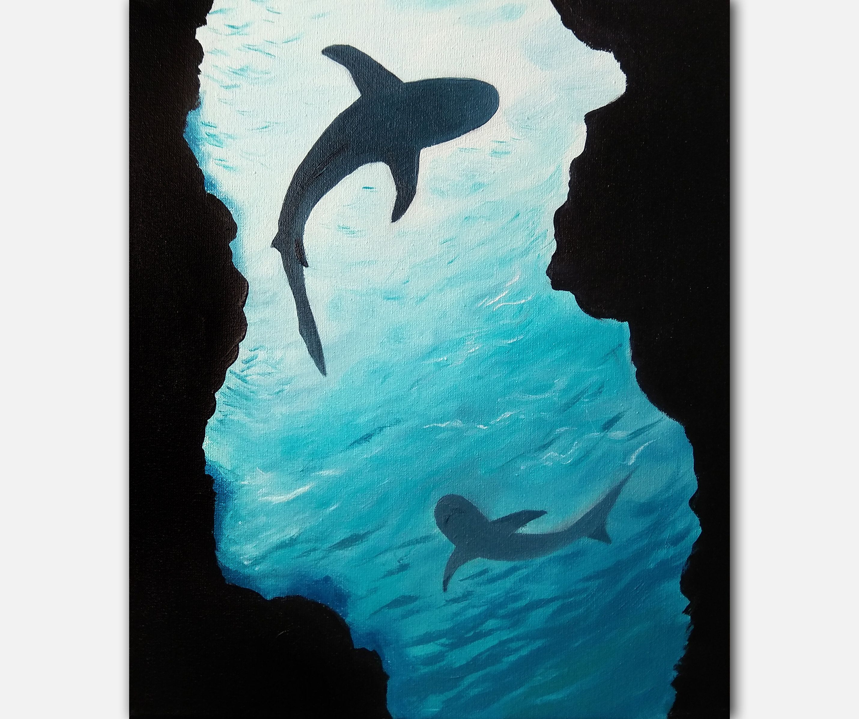Photo of Shark Painting Minimal Decor On Canvas Blue Sea White Sharks View Under the Water Small Blue Picture Oil Artwork Cyan Wall Art Small Decor
