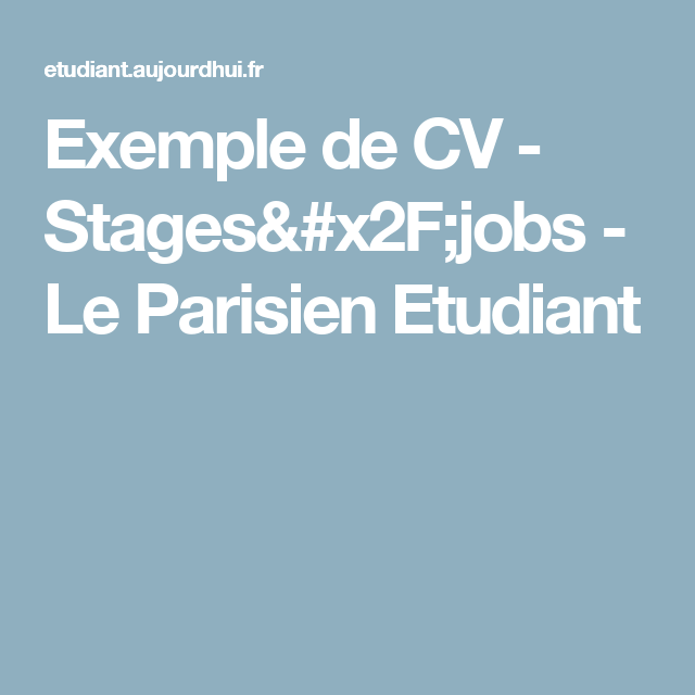 exemple de cv - stages  jobs