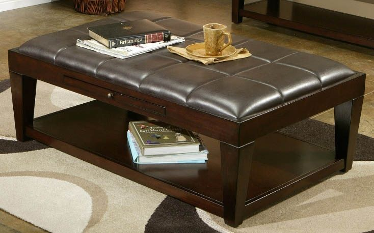 Cocktail Table Ottoman W Shelf Tufted Upholstered Top Could