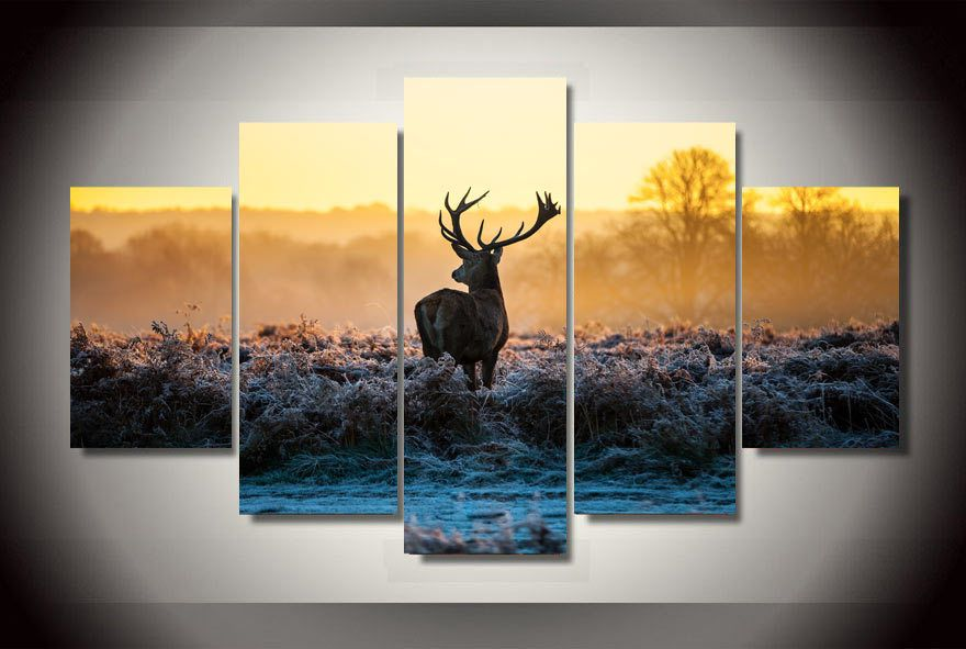 5 Panels Elk Deer Canvas Wall Artwork Set. Free EMS Shipping. Best Prices  For