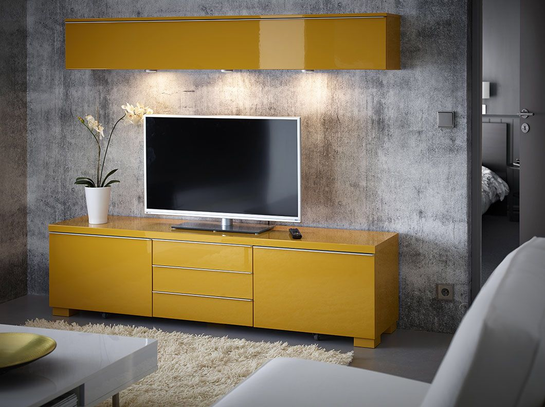 Ikea A Living Room With Wall Shelf And TV Bench Drawers All In Yellow High Gloss
