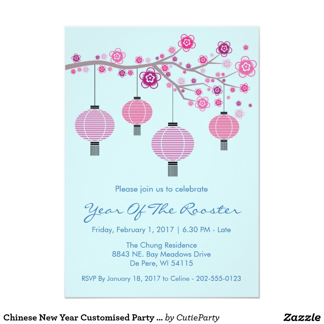 Chinese New Year Customised Party Invitation | Party invitations