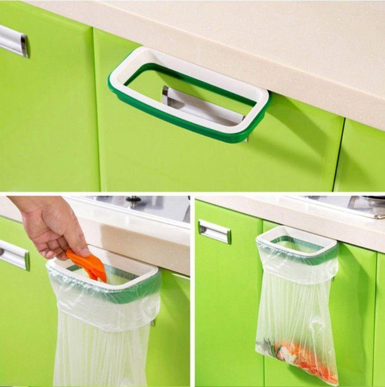 Door-back Garbage Bag Holder Trash Bag Bracket Rack Home Kitchen Shelf Hanging