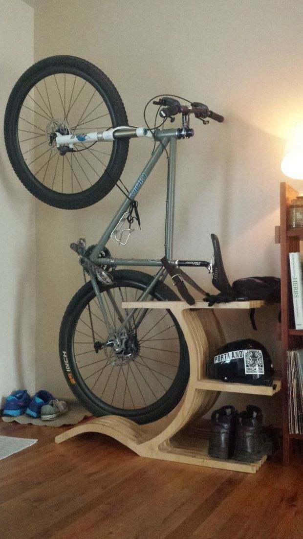 Indoor bike storage rack.