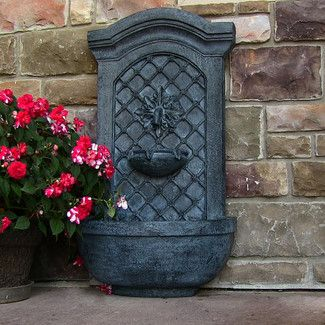 Sunnydaze Decor Polystone Rosette Solar Wall Fountain