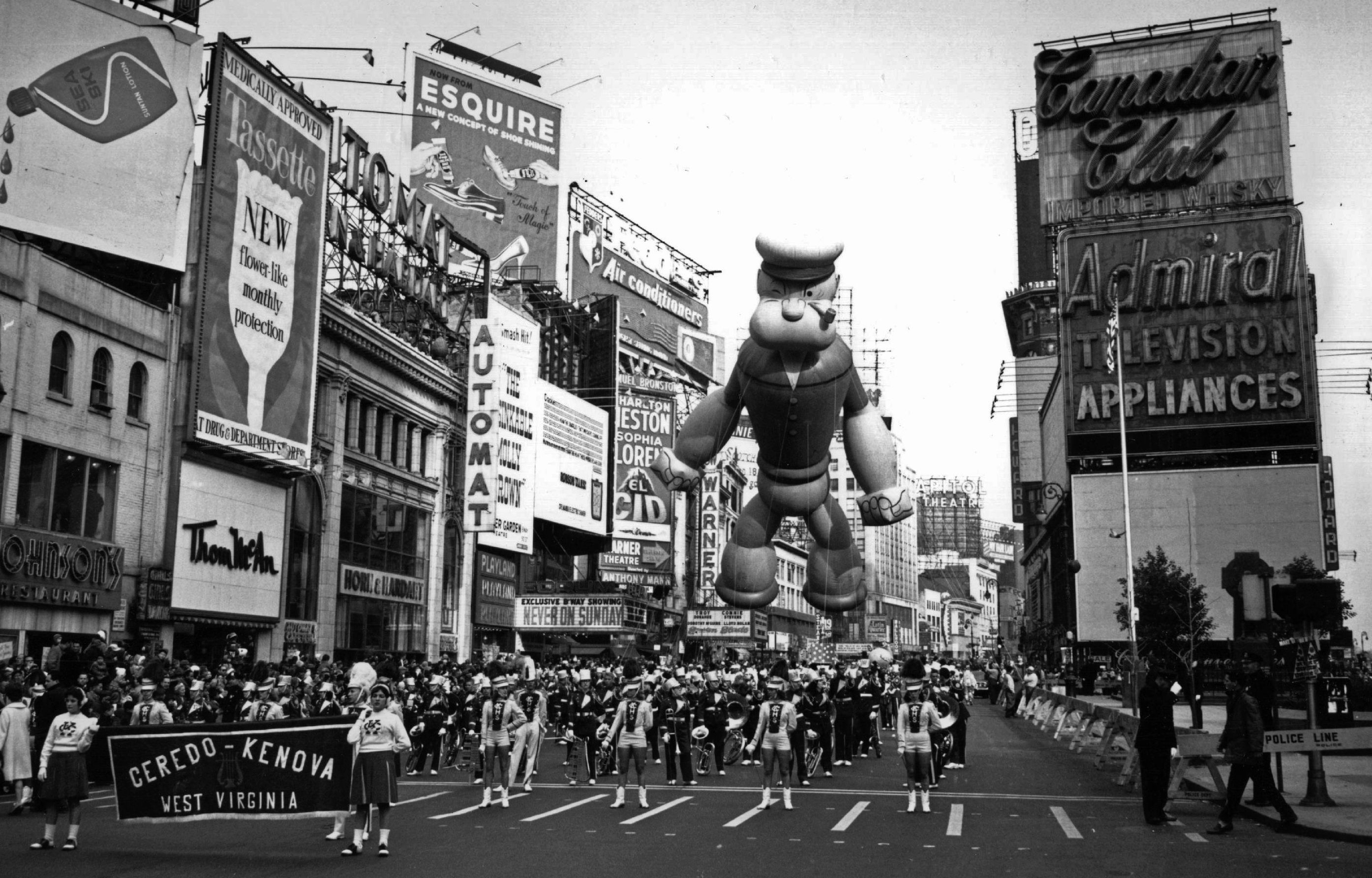 A Thanksgiving parade in New York. Floating above the