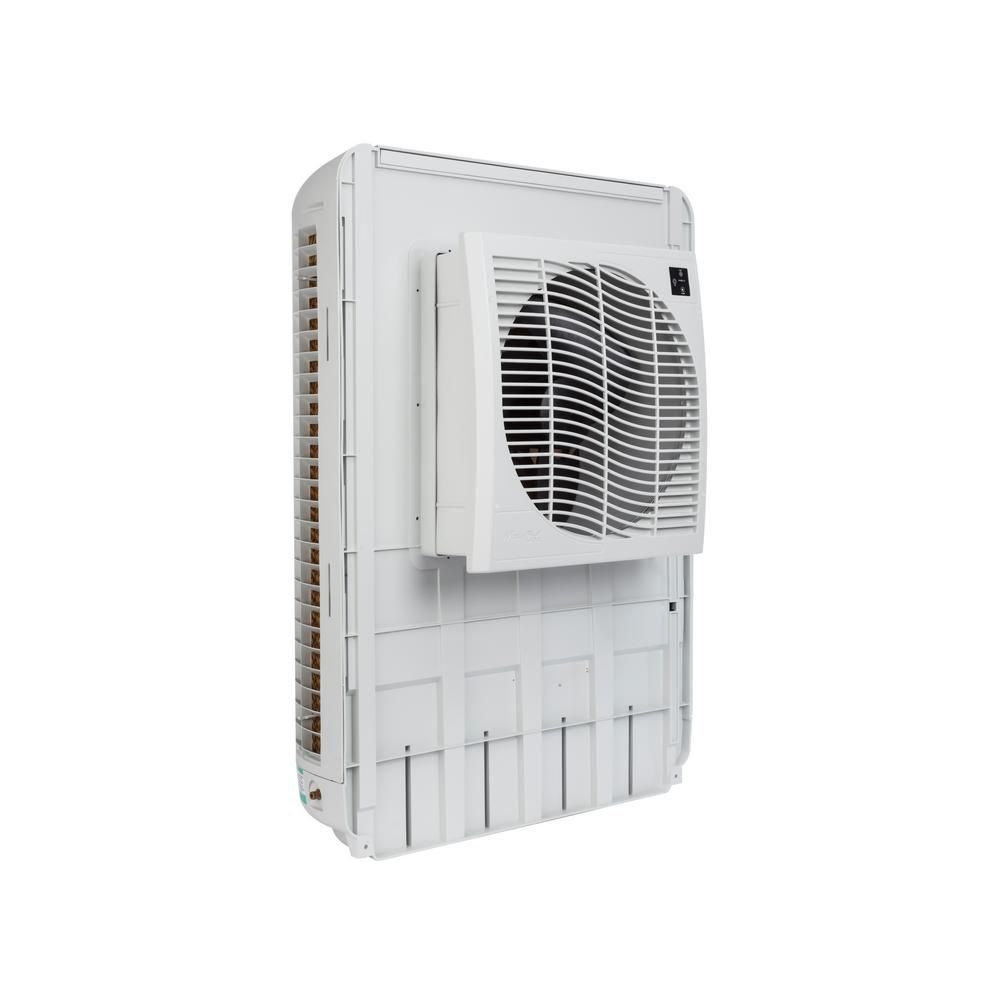 Mastercool 3200 Cfm Slim Profile Window Evaporative Cooler For 1600 Sq Ft Mcp44 The Home Depot Evaporative Cooler Evaporative Air Conditioner Window Unit