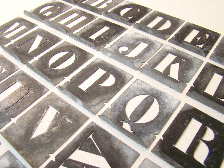 Antique french zinc stencil alphabet letter stencil from france