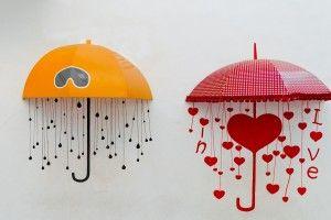 Mood Umbrellas Yellow Red Rain Love Hearts Art HD Wallpaper