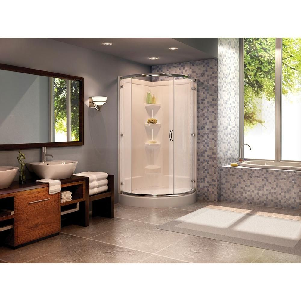 Peerless Cerise 39 in. x 78 in. Frameless Shower Enclosure in Chrome ...