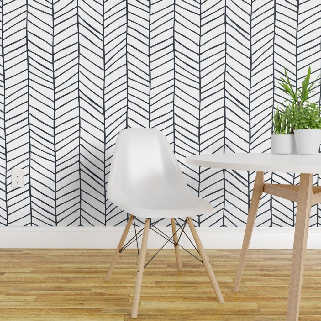 Peel And Stick Removable Wallpaper Herringbone Black And White Feather Walmart Com In 2021 Herringbone Wallpaper Black And White Wallpaper White Wallpaper