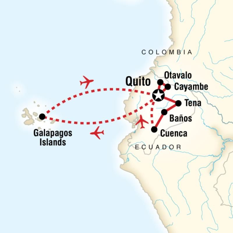 Route map for Highlights Of Ecuador (EF06HB)   Tipps