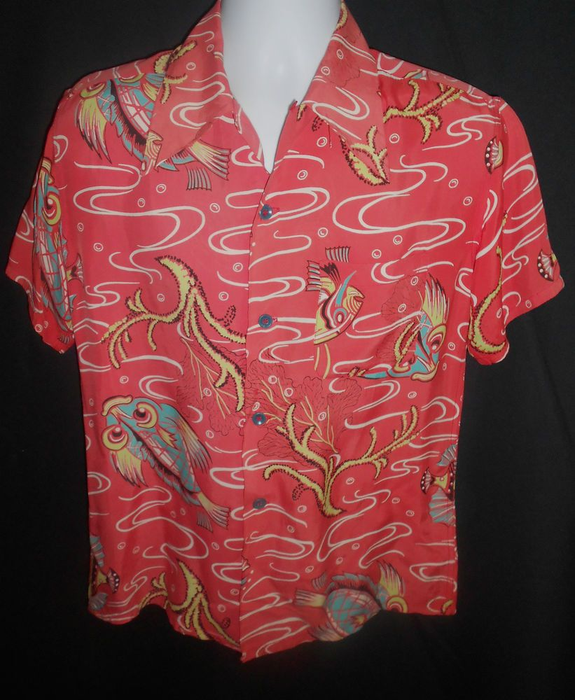 6c106f90 Cool Vintage 1940's/50's Rayon Fish Print Rockabilly Hawaiian Shirt S/40