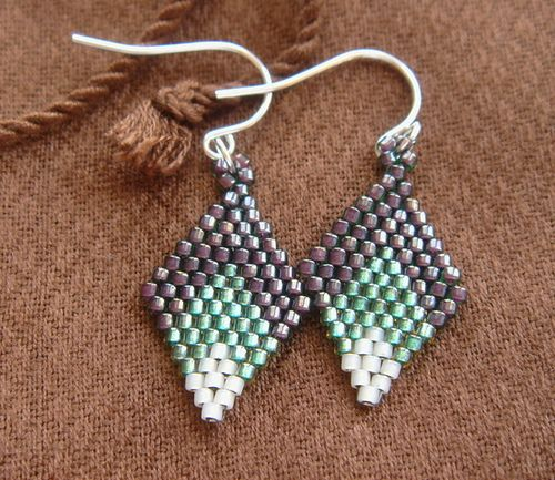 Beaded Diamond: Diamond Pattern Beadweaving Earrings