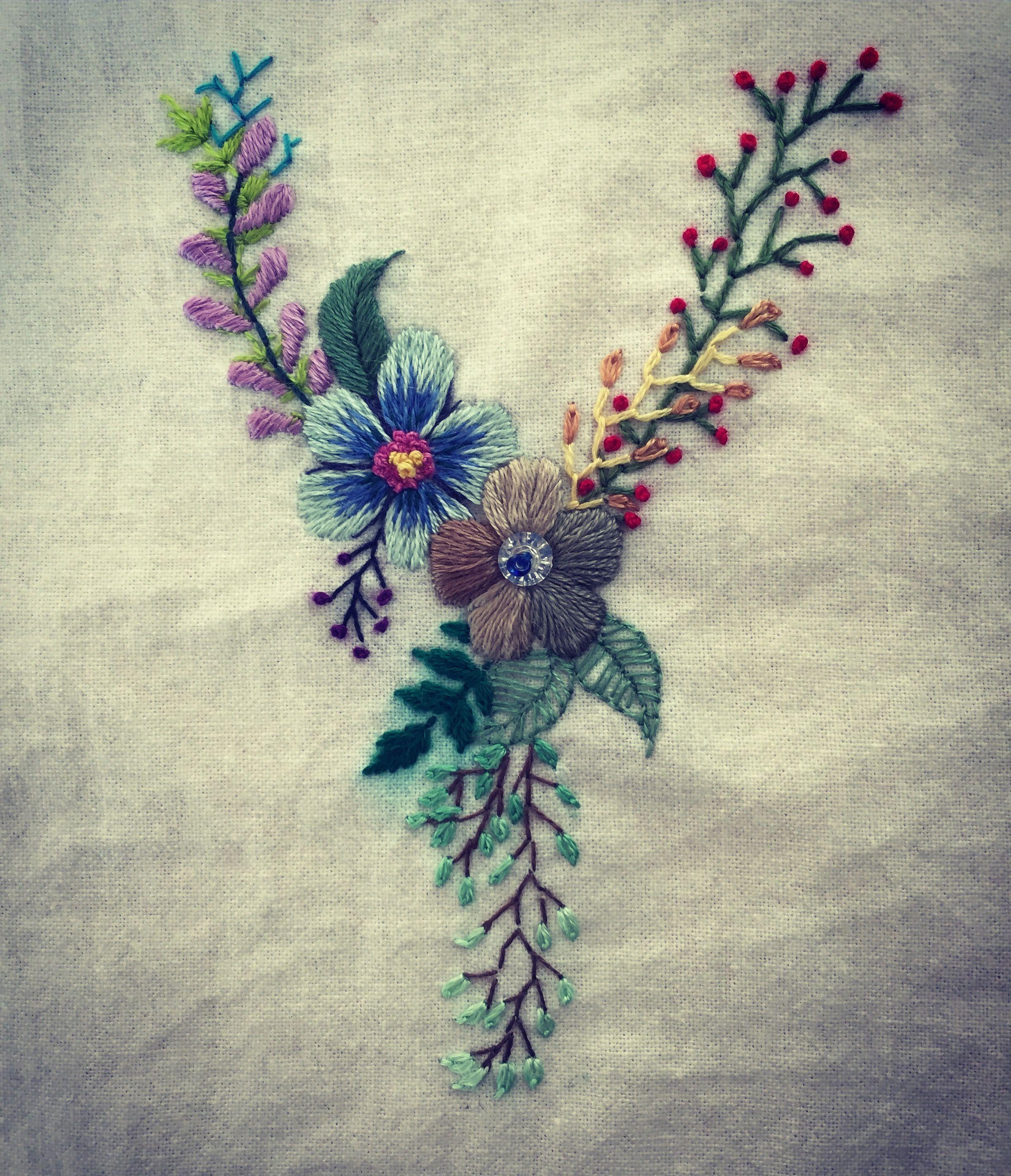Hand embroidered by Nina Letter Y Based on Megan Wells's illustration