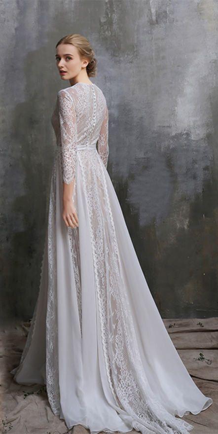 Boho Wedding Dress White Lace Dress Bohemian Wedding Lace Wedding Dress Vintage Wedding Long Sleeve Wedding Dress Custom Made To Fit Lace Wedding Dress Vintage White Lace Wedding Dress Lace