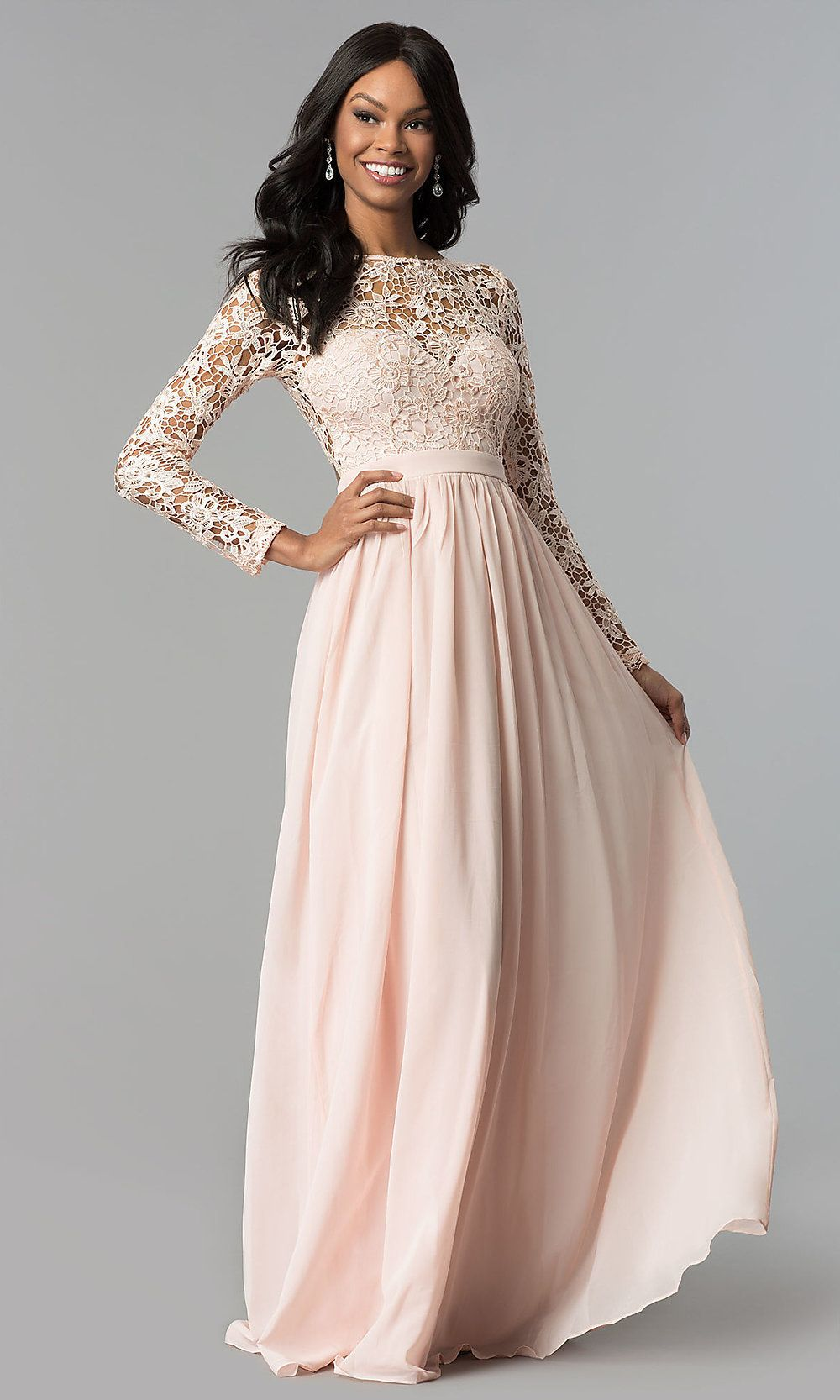 Lace Bodice Long Sleeve Corset Back Prom Dress Long Sleeve Bridesmaid Dress Prom Dresses Long With Sleeves Dresses [ 1666 x 1000 Pixel ]