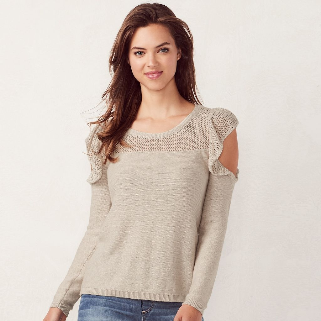 204f7cf11f9500 Women s LC Lauren Conrad Ruffle Cold-Shoulder Crewneck Sweater ...