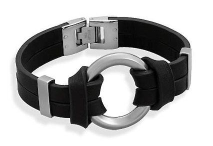Black Leather Bracelet, Stainless Steel Center Circle Design, 8 inch Silver Messages. $21.99