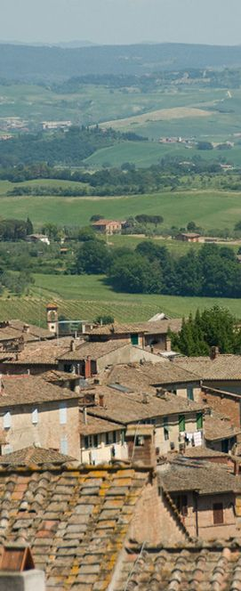 Rooftops of Surrounding Farm Fields of Siena, Italy