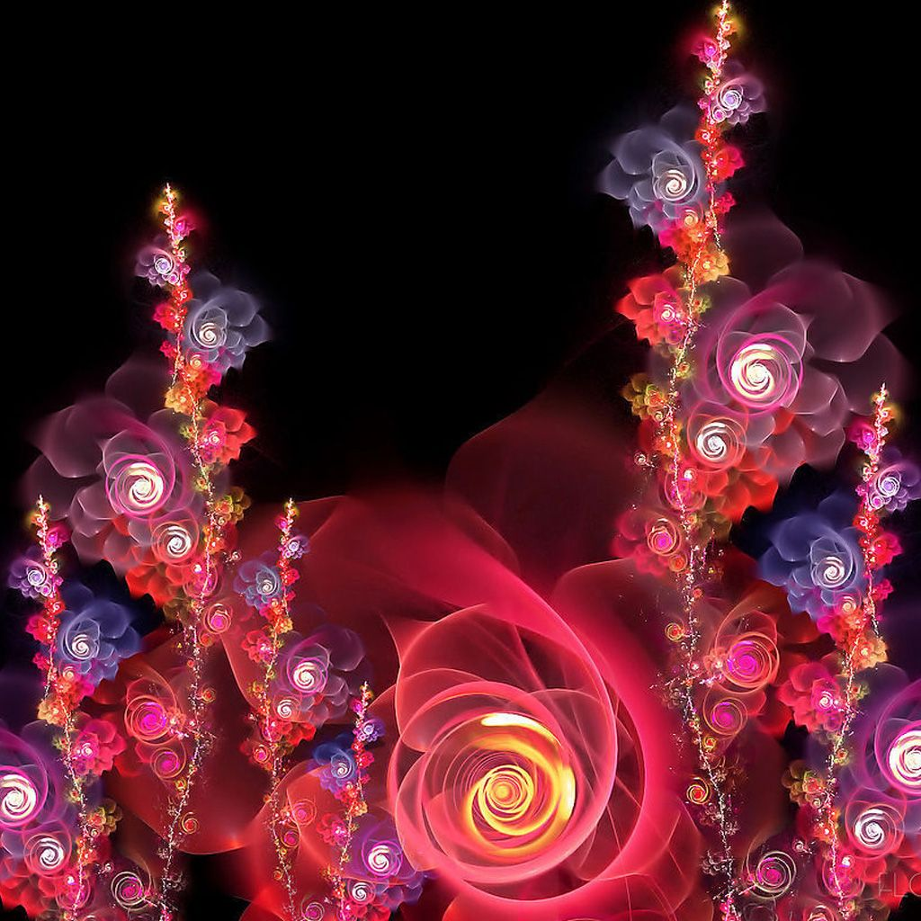 3d Fantasy Flowers Wallpaper, IPad