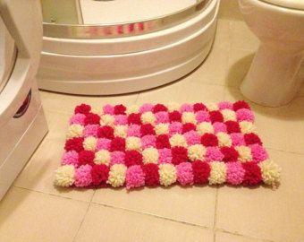 Pink Collorful Pom Poms Bath Mat Bathroom Rug Doormat