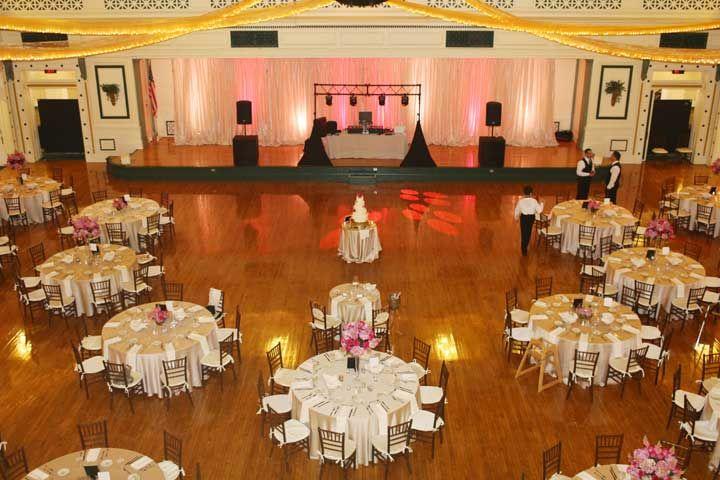 Solrs Sailors Memorial Hall Museum Pittsburgh Wedding Beth Paul Grand Ballroom Pink Uplighting Gold Lit Tapestry Chiavari Chairs