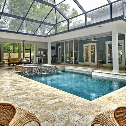 Indoor pool area--love the stone flooring | Home Proyect ...