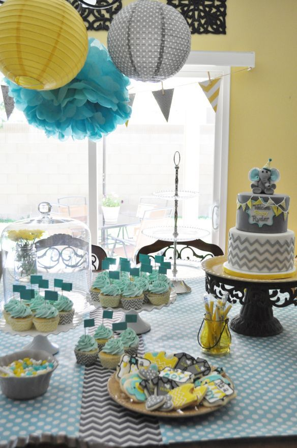 Yellow Gray Aqua Baby Shower Theme Found On Thebakeboutique