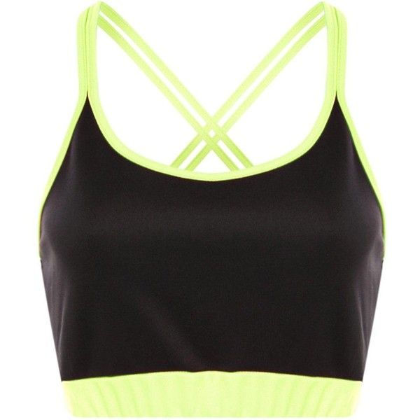 4345831dce0974 Boohoo Aaliyah Neon Cross Strap Bralet (13 NZD) ❤ liked on Polyvore  featuring tops