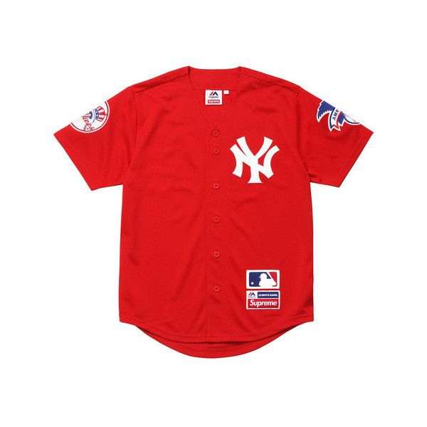 Supreme New York Yankees  Supreme Majestic Baseball Jersey ( 128) ❤ liked  on Polyvore featuring tops 3cbd349f11f6a