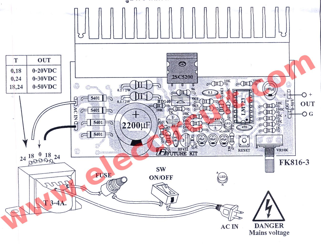 Variable Power Supply Circuit 0 50v At 3a With Pcb Eleccircuit Com In 2020 Power Supply Circuit Power Supply Computer Power Supplies