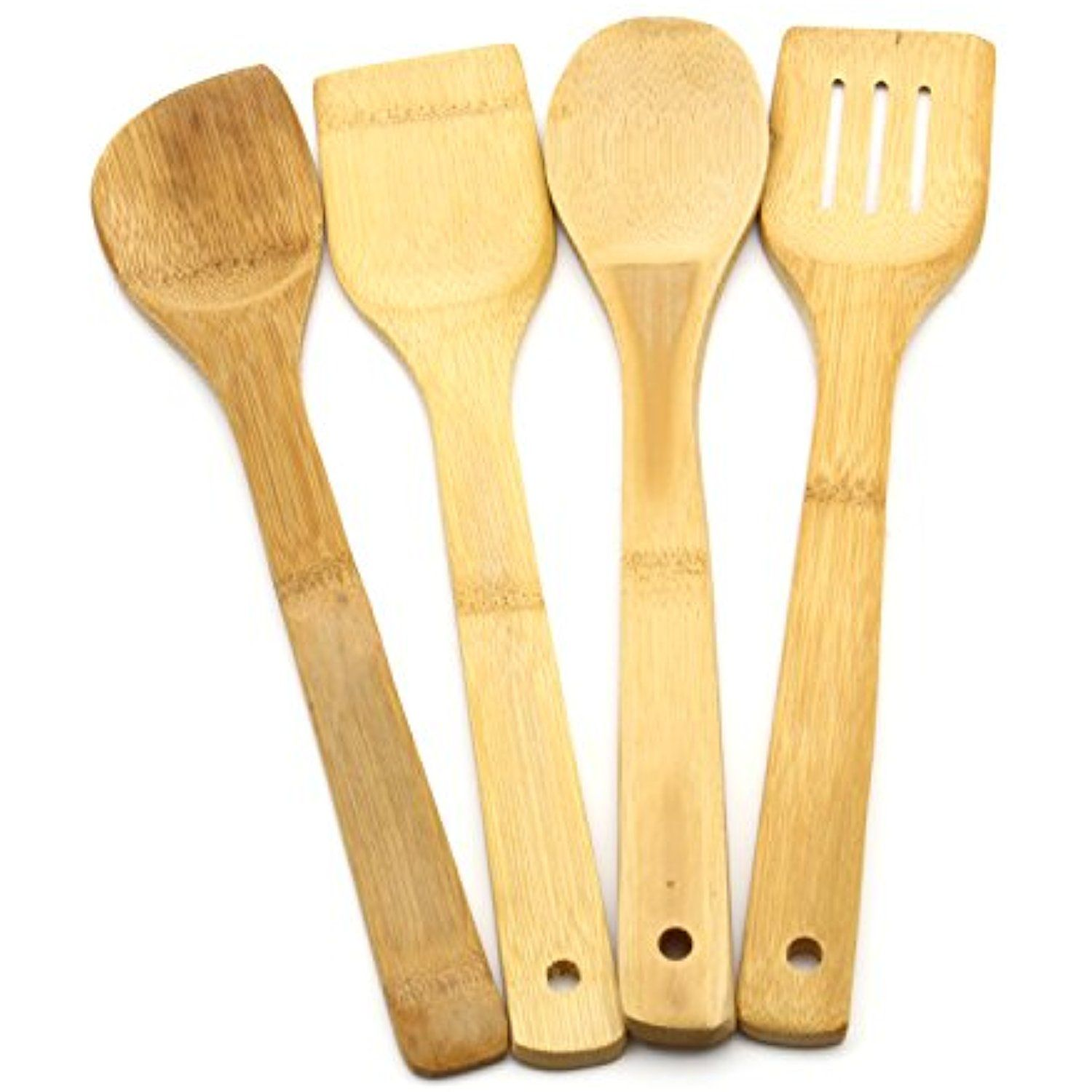4Pcs Bamboo Cooking Utensils Set Wood Kitchen Tools ** Want ...