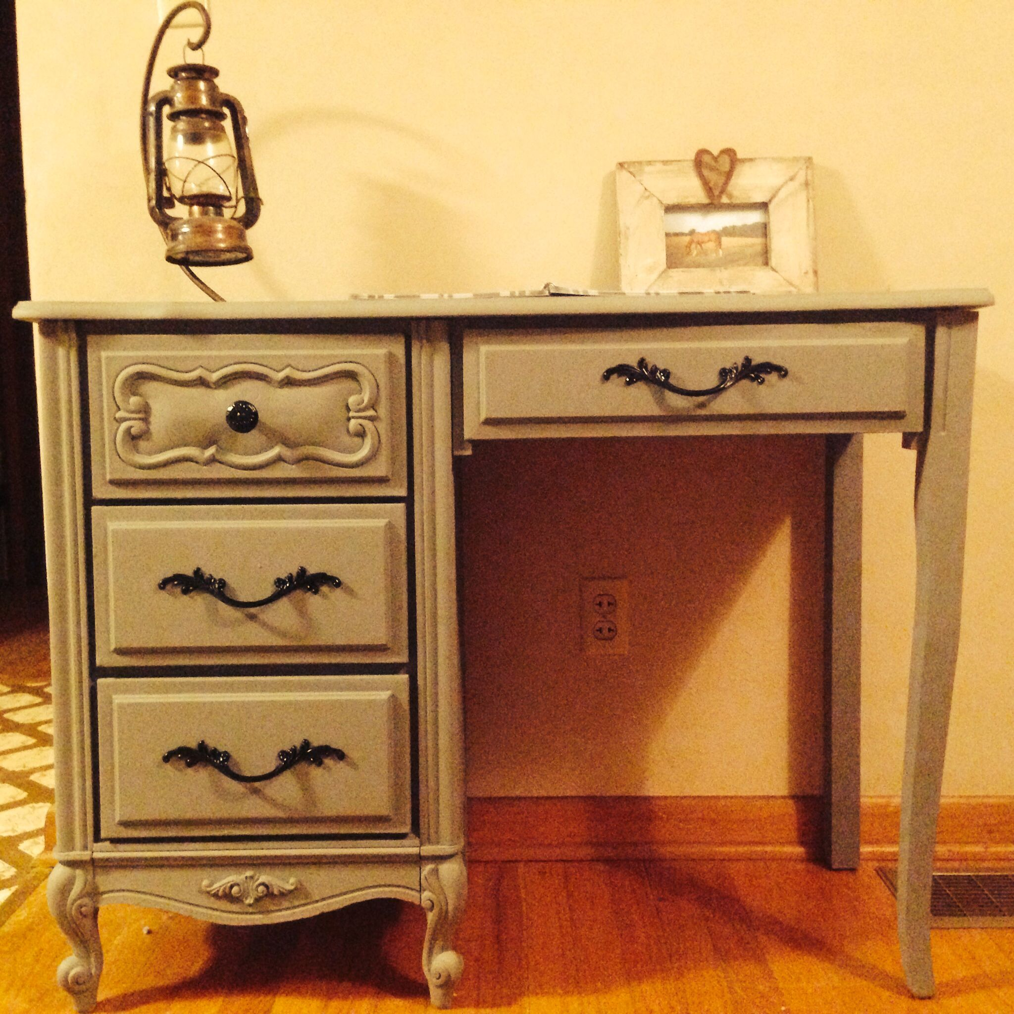 1960 French Provincial Desk painted dark gray with black
