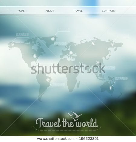 Vector infographic web design on blurred unfocused background world vector infographic web design on blurred unfocused background world map with gumiabroncs Choice Image