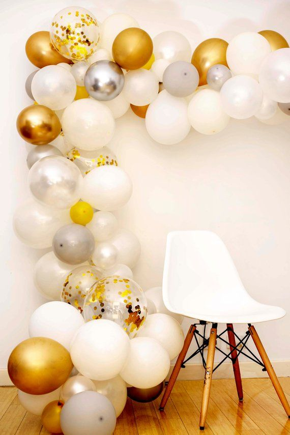 Confetti Gold Silver White Garland Arch Diy Balloon Pack 120pc