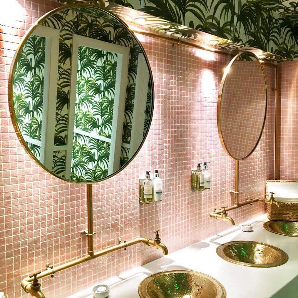 Urban Outfitters | Round mirror bathroom, Tropical ...