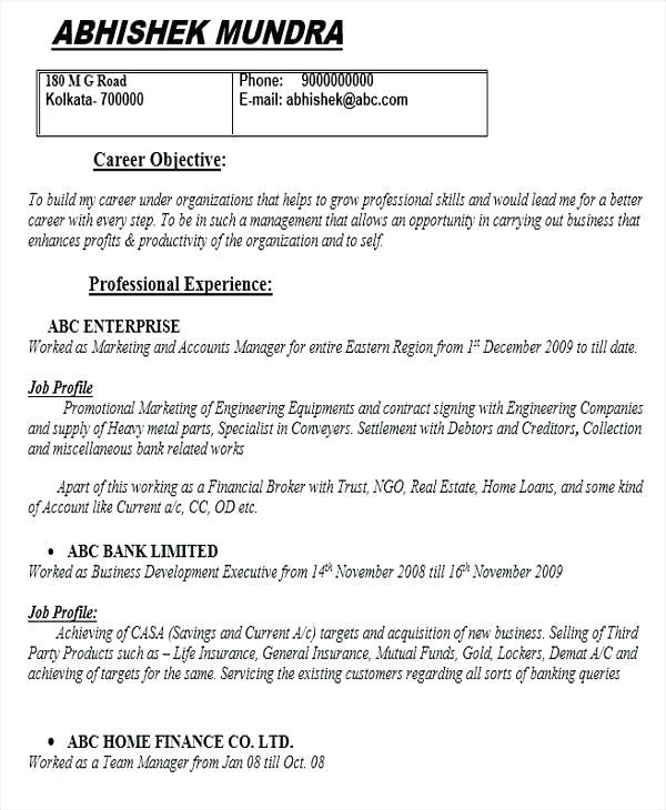 mutual fund operations resume sample
