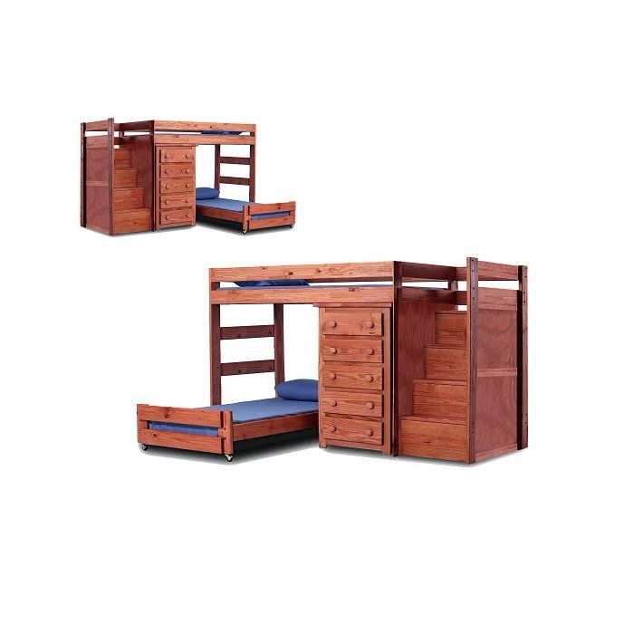 Chery Staircase Twin Over Twin L Shaped Bunk Bed With Drawers