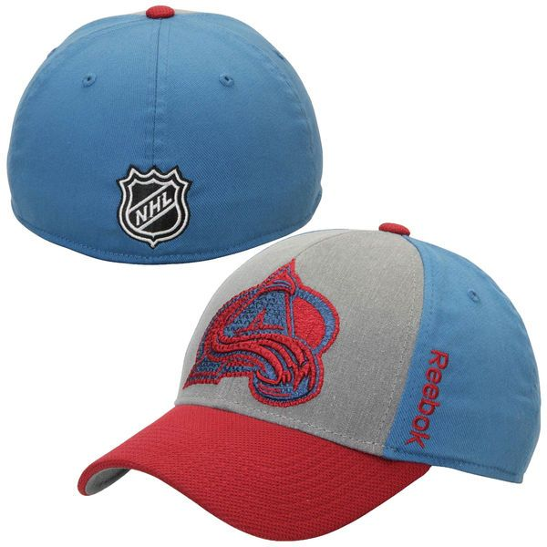 89985cc9907 Mens Colorado Avalanche Reebok Steel Blue Travel   Training Tri-Blend Flex  Hat