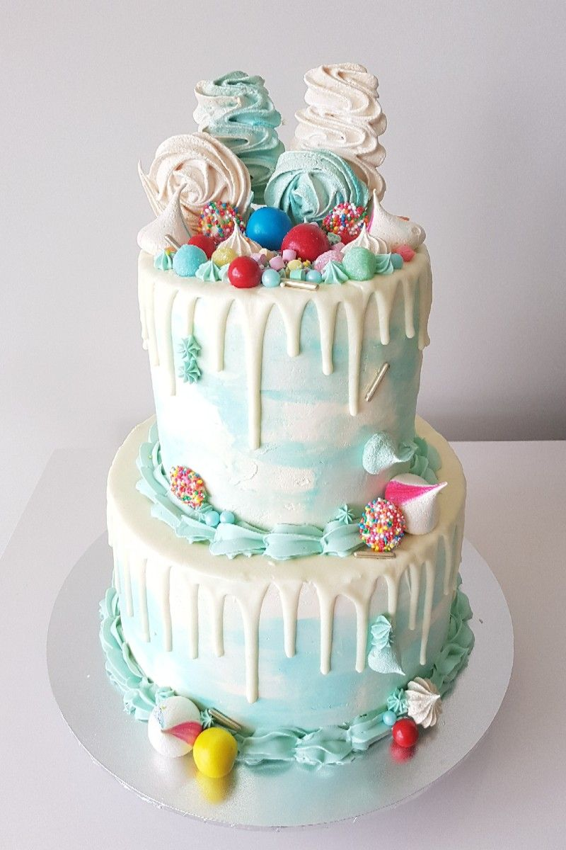 Remarkable 2 Tier Watercolour Candyland Drip Cake With Images Drip Cakes Funny Birthday Cards Online Alyptdamsfinfo