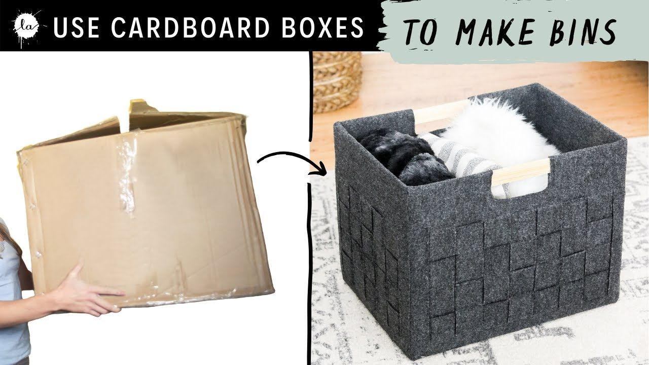 DIY Storage Box from a Cardboard Box into a Pretty Felt