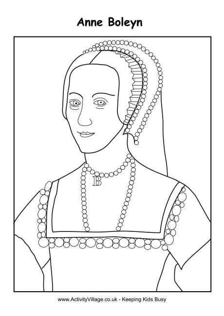 Anne Boleyn Colouring Page Embroidery And Needlework Tudor Colouring Pages