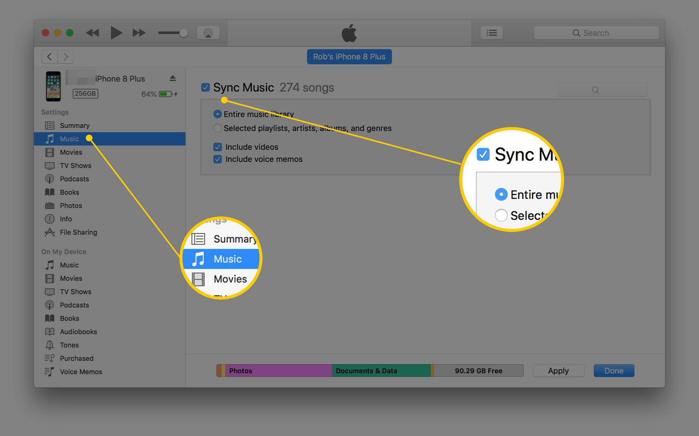 How To Sync Music To Your Iphone Using Itunes Music Music Library Iphone